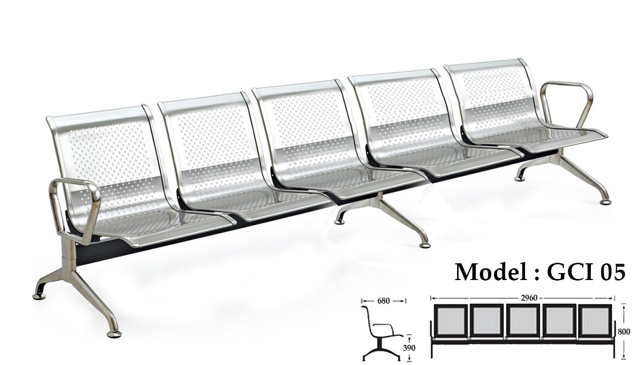 Ghế băng chờ inox 5 chỗ ngồi KG – 05A