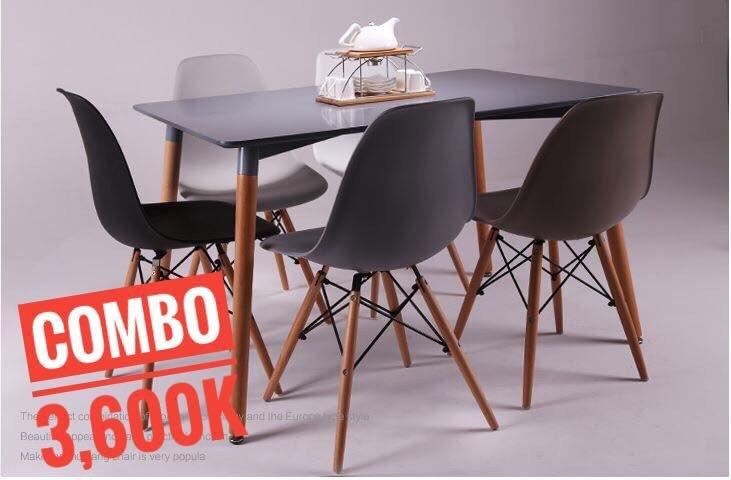 Bộ bàn ghế ăn 1200x80cm + 5 ghế Eames