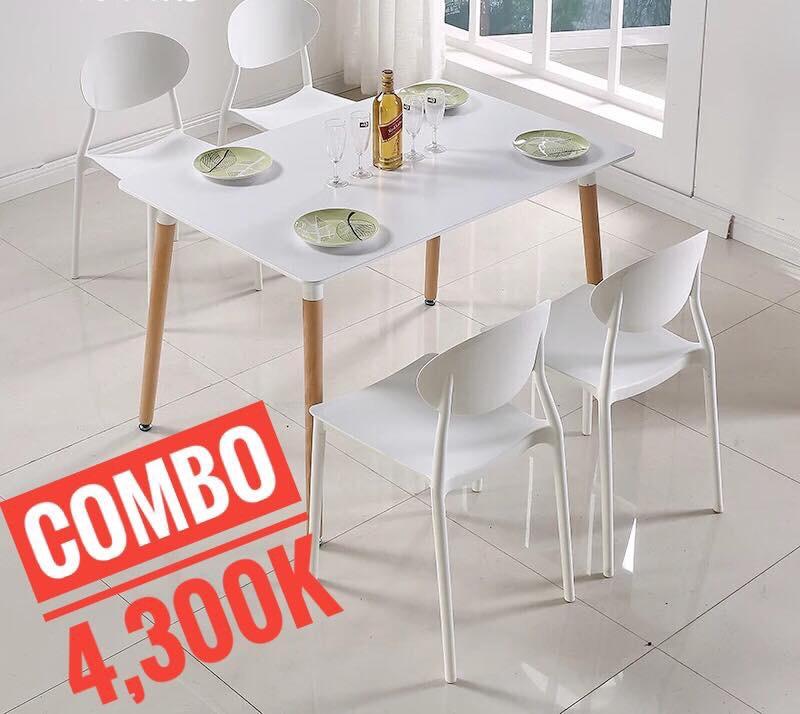 Bộ bàn ghế ăn 80x1200cm- 4 ghế KG-20