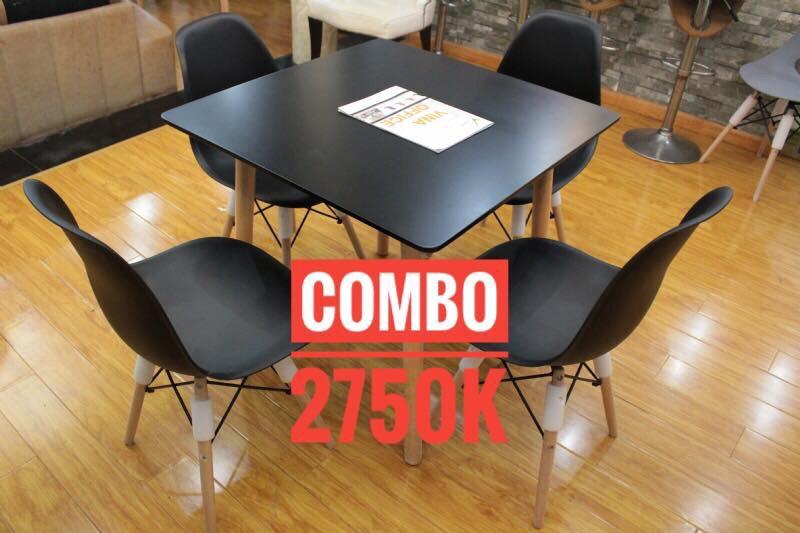 Bộ bằn ăn 60x60cm + 4 ghế Eames : KG – V60