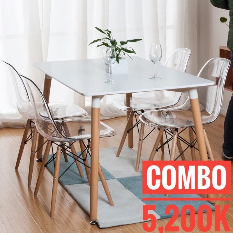 Bộ bàn ghế ăn 1200x80cm + 4 ghế Eames trong suốt