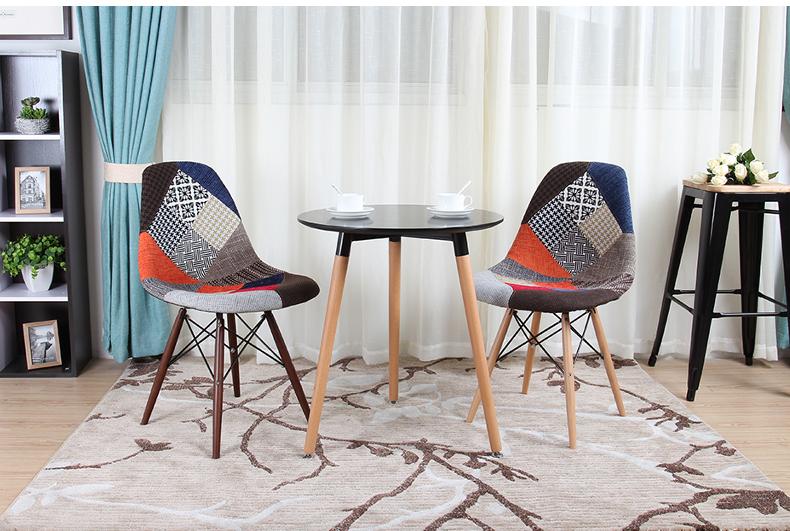 Bộ bàn ghế cafe 60cm + 2 ghế Eames bọc vải bố