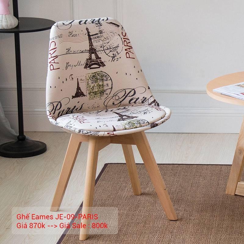 Ghế Eames bọc vải chân gỗ JC – 09
