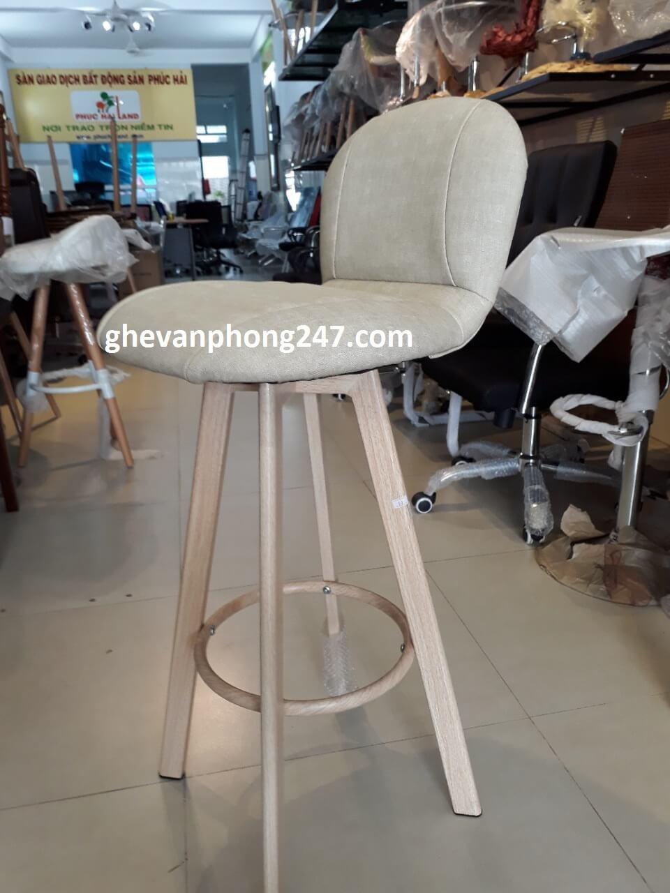 Ghế quầy bar chân thép giả gỗ lưng cao