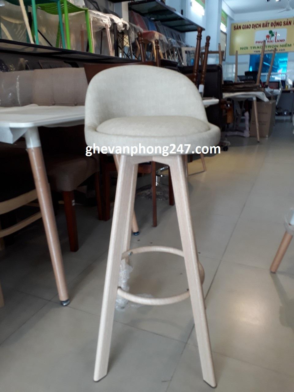 Ghế bar chân cao giả gỗ yên da
