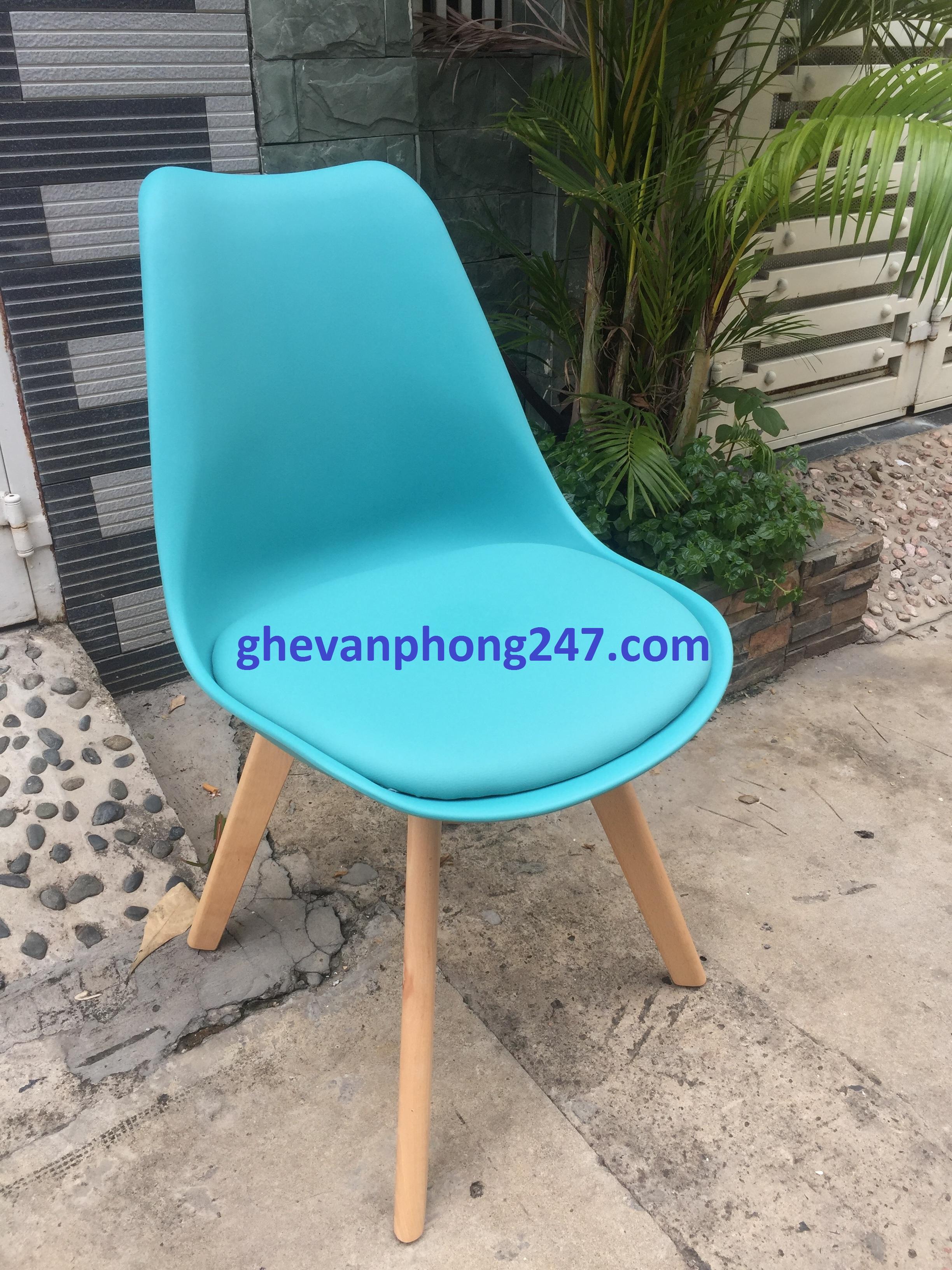 Ghế Eames nhựa chân gỗ bọc nệm ngồi giá rẻ – Mã : 1019G