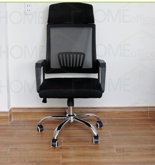 Ghế lưới lưng cao chân mạ màu đen có gối tựa KG – H018