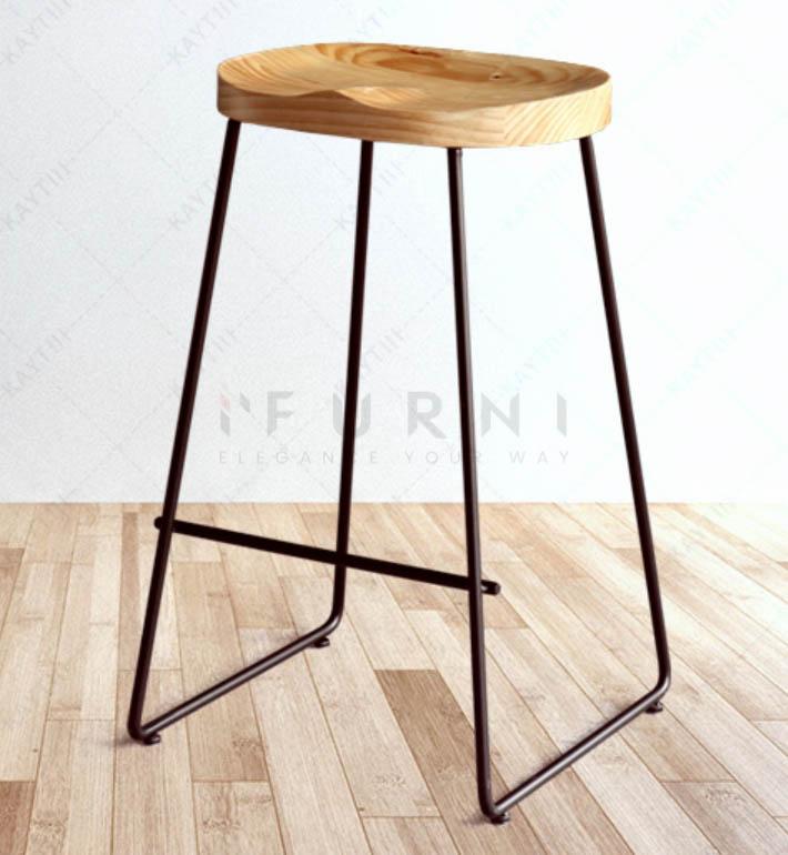Ghế quầy bar chân thép sơn tĩnh điện mặt ngồi gỗ Ash – Vera
