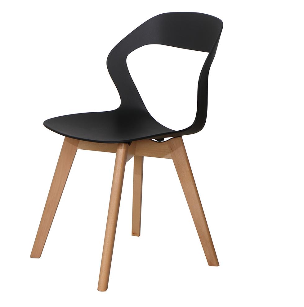 Ghế ăn, ghế cafe nhựa chân gỗ cách điệu – Mã: G512