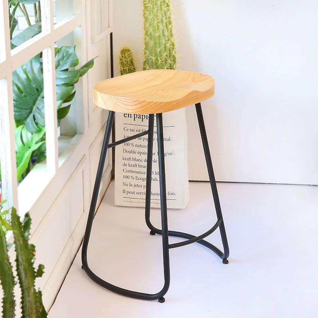 Ghế bar chân sắt mặt gỗ đơn giản – Mã : 781