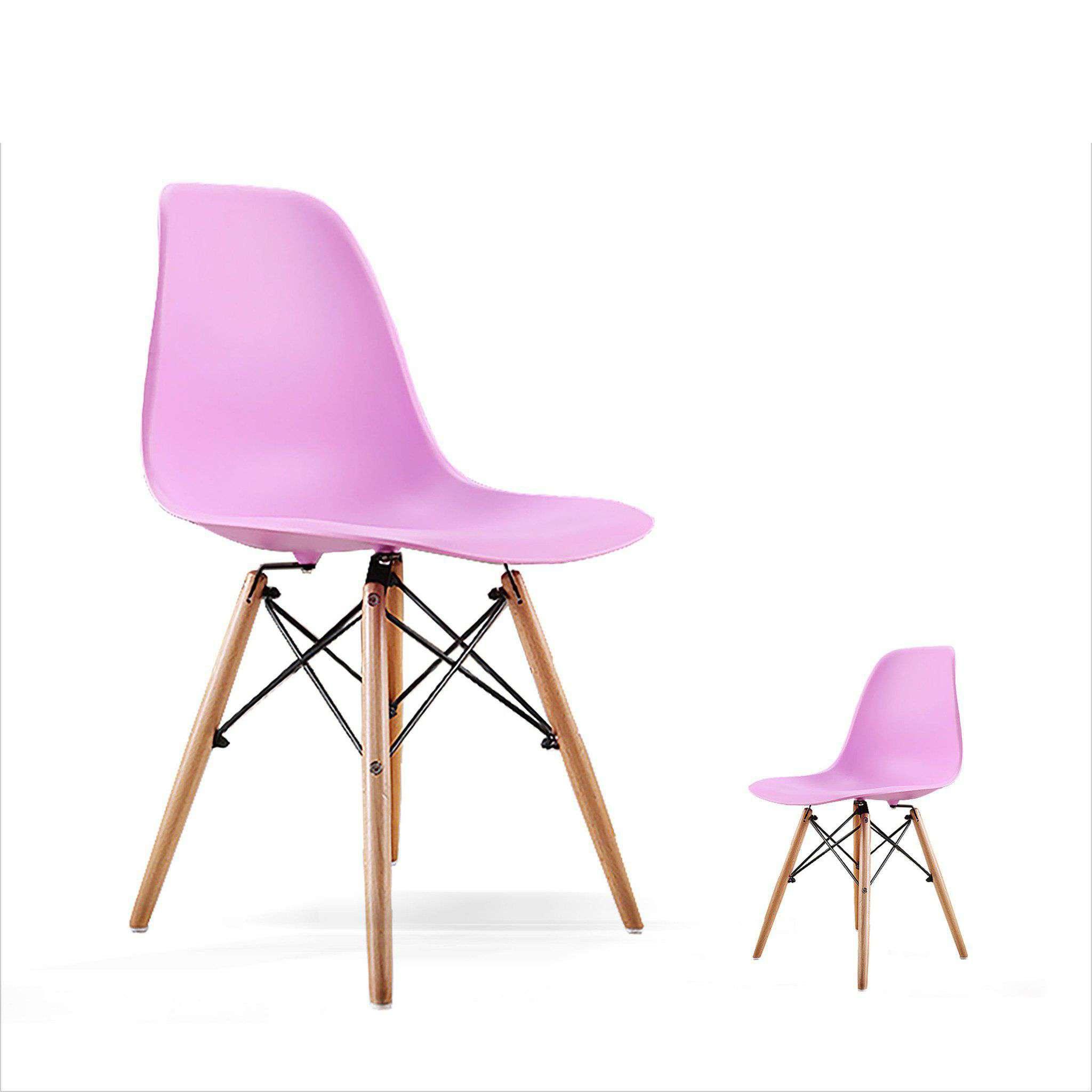 Ghế Eames chân gỗ mặt nhựa màu hồng Mã : E02