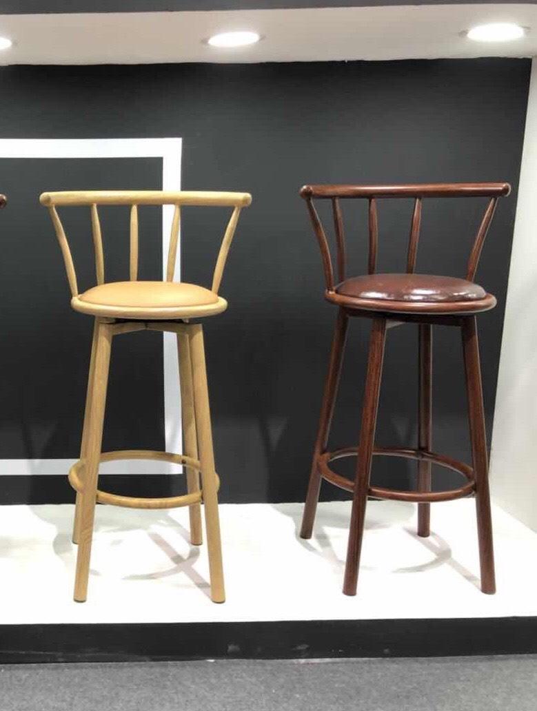 Ghế quầy bar chân sắt sơn giả gỗ : KG – B803