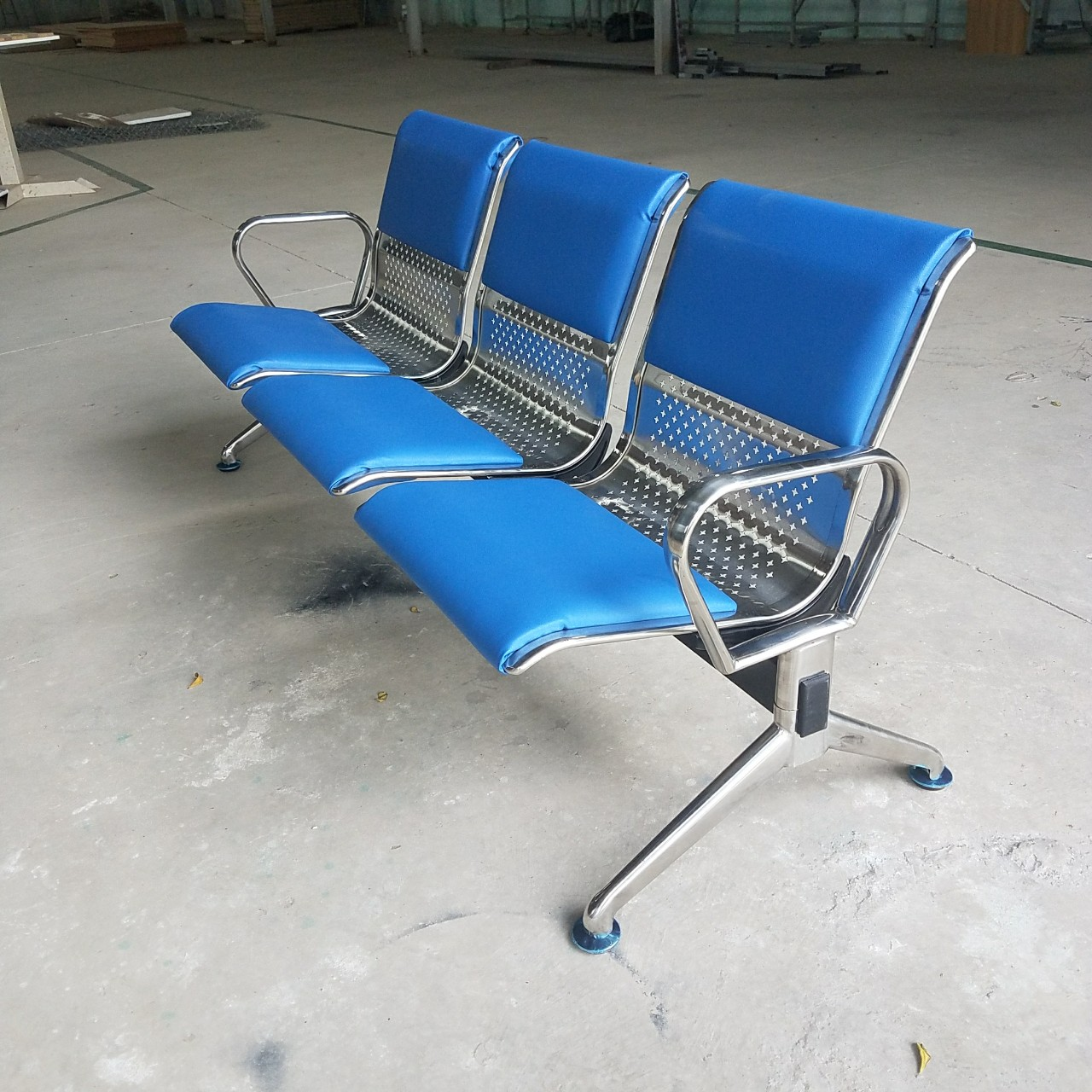 Ghế phòng chờ inox 3 chỗ bọc nệm : KG – 303B