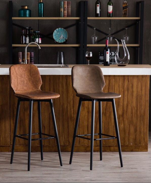 Ghế quầy bar chân sắt nệm xoay tròn phòng cách cổ điển : KG – 828