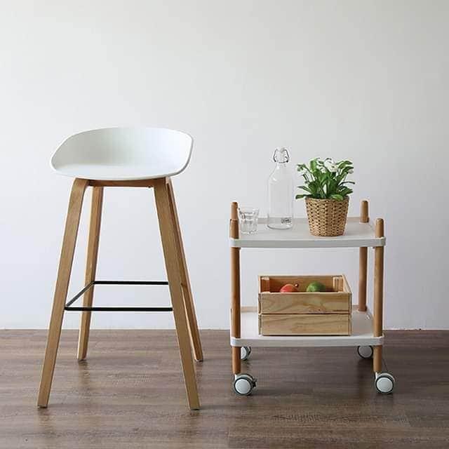 Ghế bar cao chân thép sơn tĩnh điện giả gỗ : KG-0711