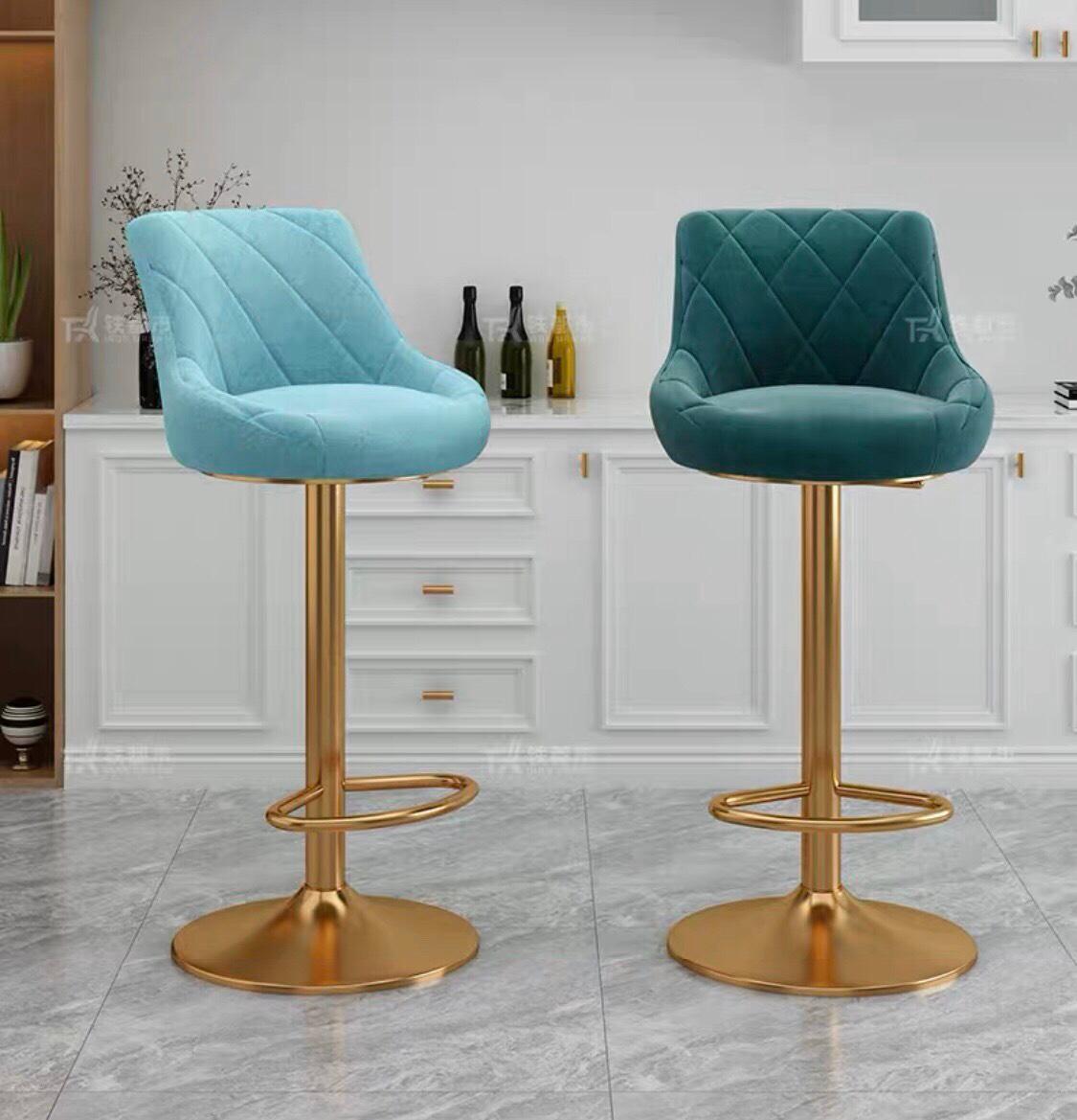 Ghế quầy bar chân mạ vàng nệm ngồi bọc vải nhung : KG – A915