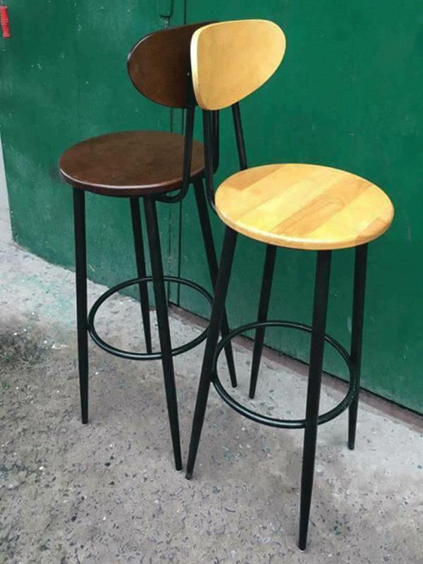 Ghế bar chân sắt mặt gỗ có tựa lưng : KG – GB01