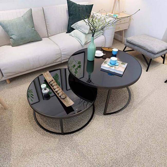 Bàn sofa kiểu mẹ bồng con mặt kính cường lực : KG – S177