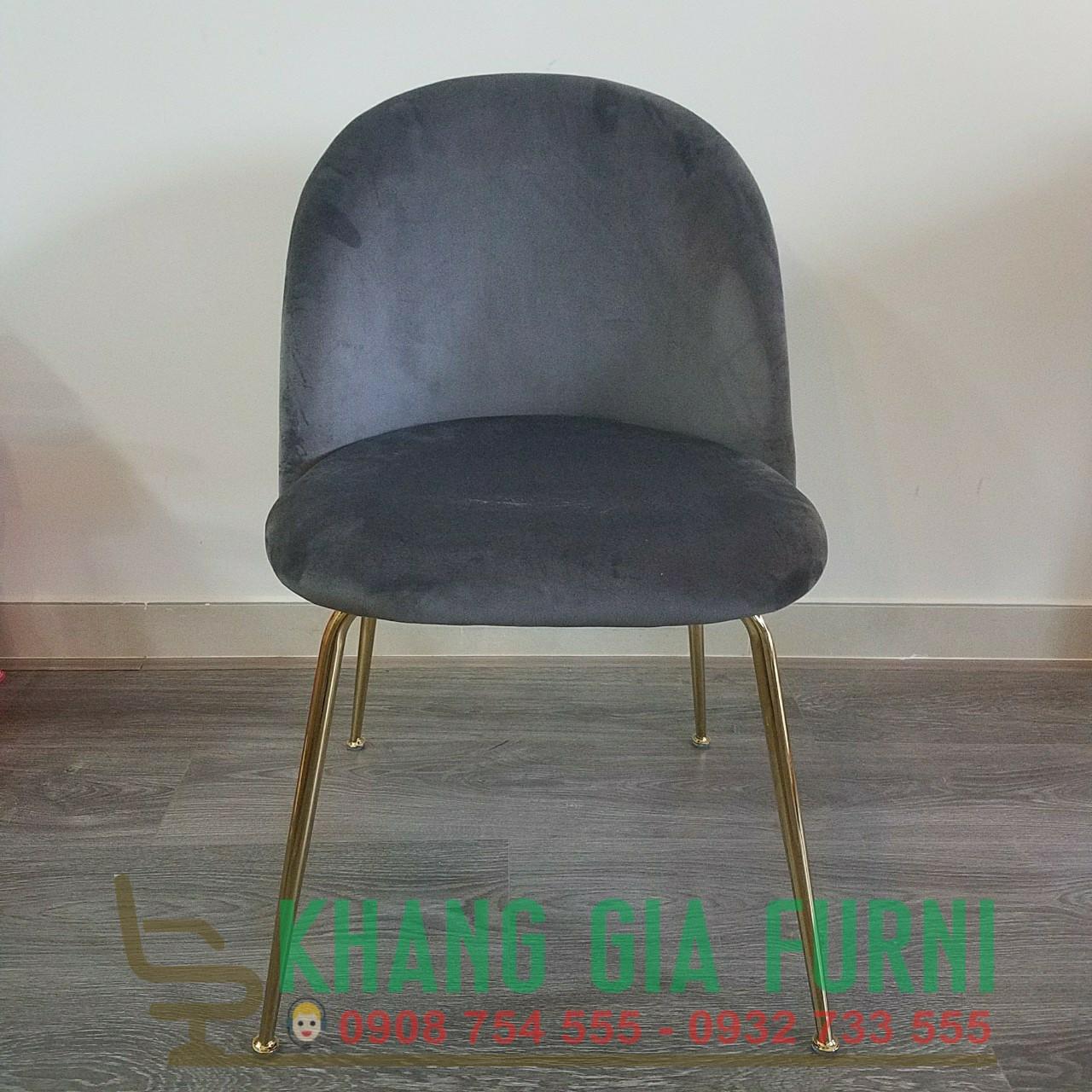 Ghế ăn bọc vải nhung chân mạ vàng : KG – V292