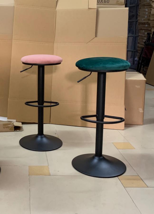 Ghế bar chân sắt sơn tĩnh điện nệm ngồi bọc nhung : KG – 474