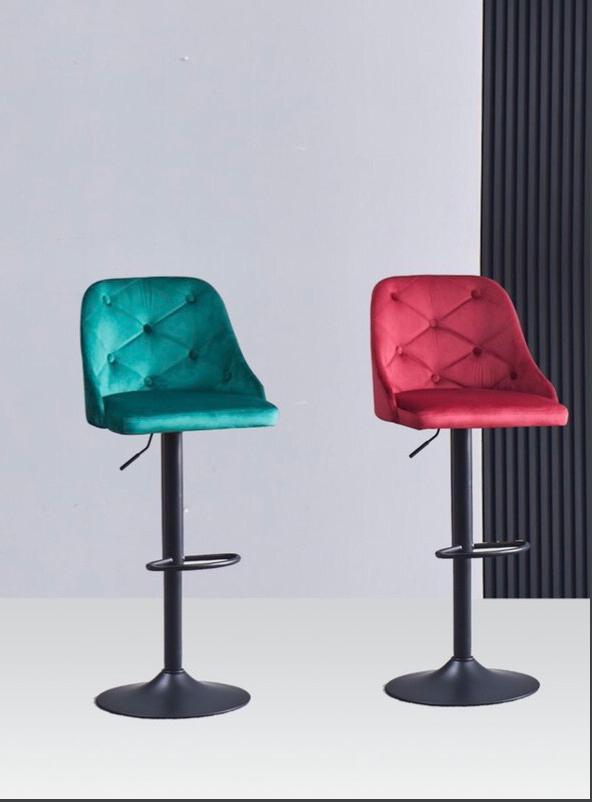 Ghế bar chân thép sơn tĩnh điện nệm ngồi bọc vải nhung : KG – 705
