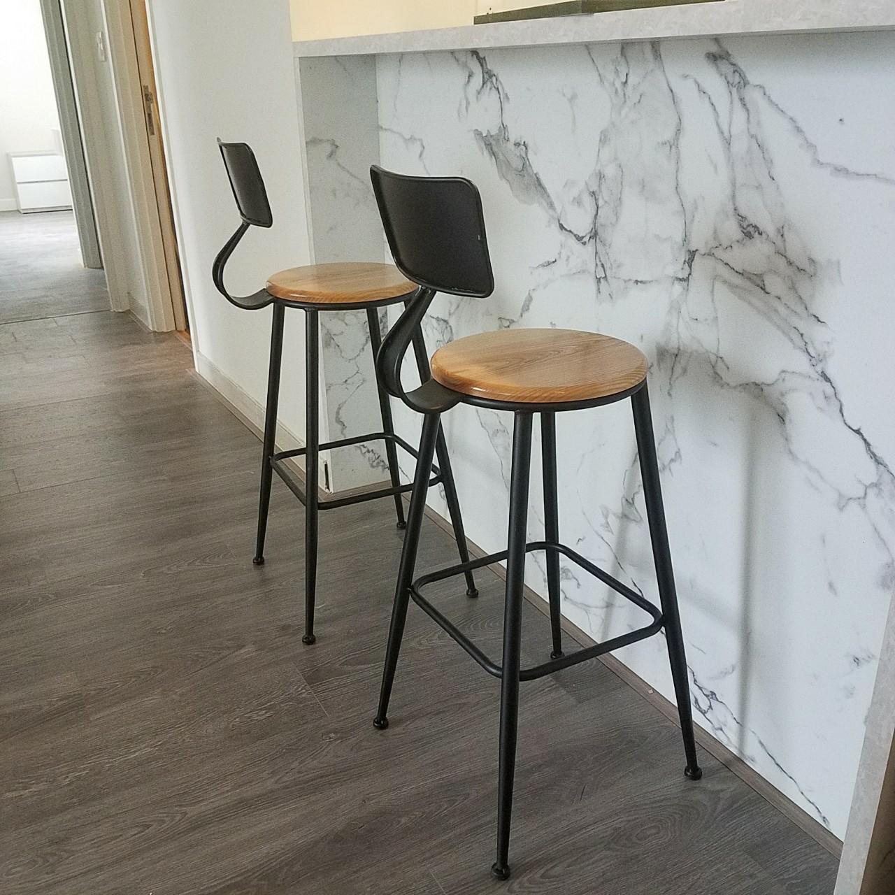 Ghế cafe Bar chân sắt mặt ngồi gỗ Ash : KG – A75