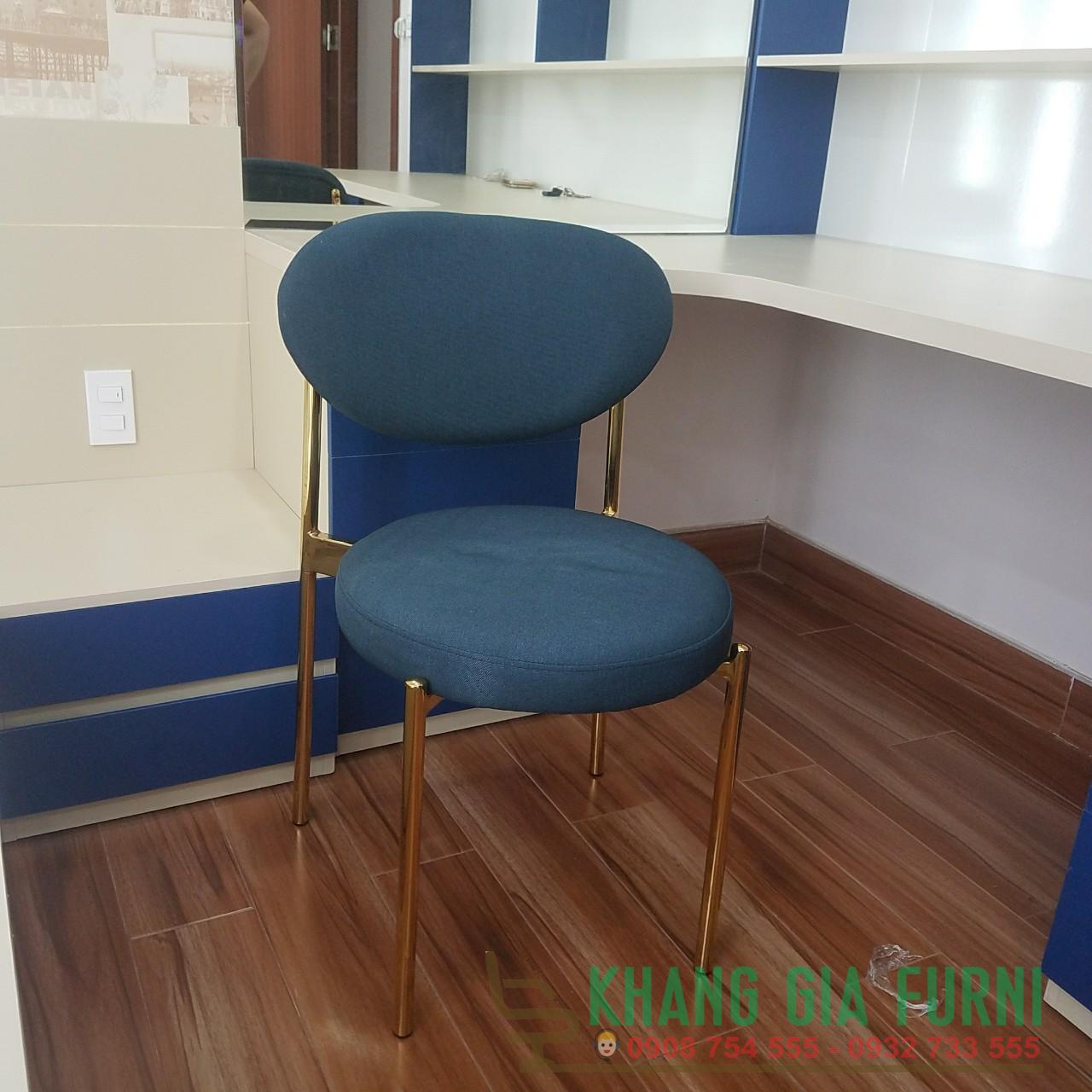 Ghế cafe – ghế ăn chân mạ vàng nệm vải : KG – E202-1