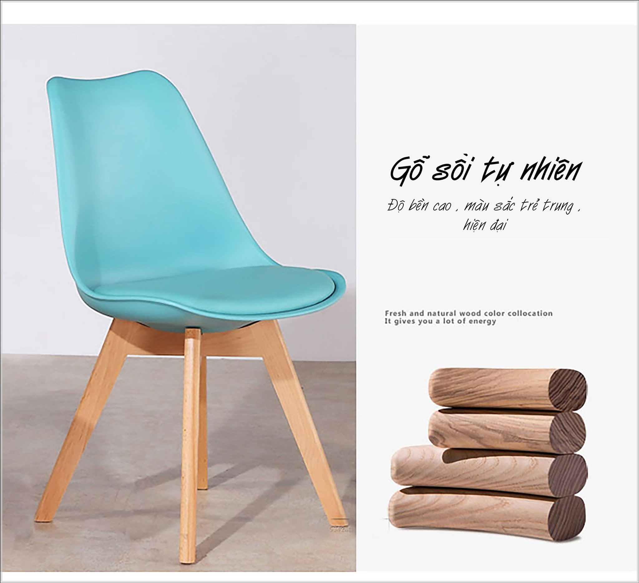 Ghế cafe, ghế ăn nhựa lót nệm chân gỗ : KG – E205