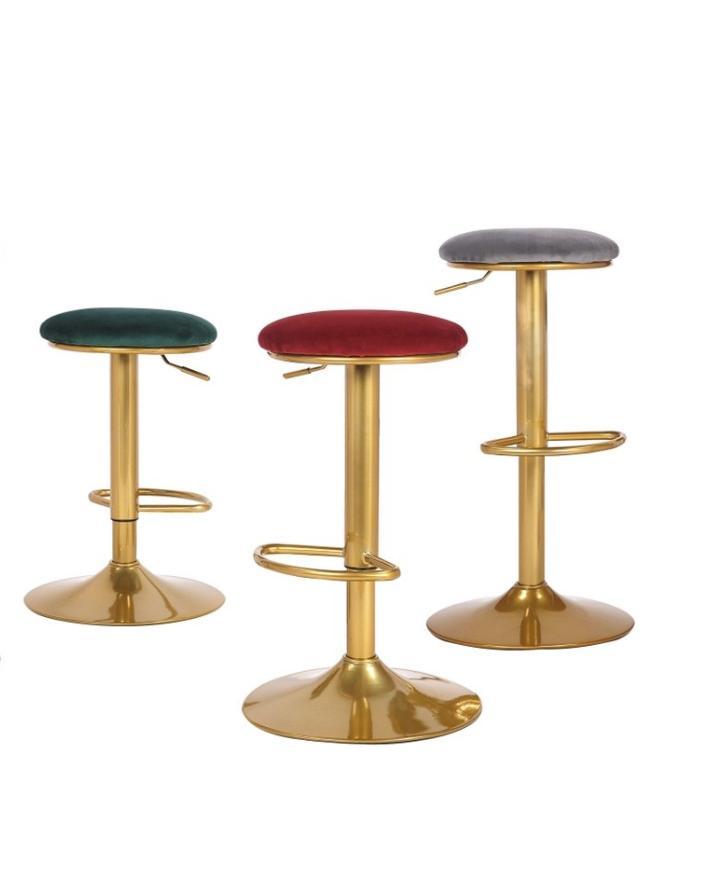 Ghế quầy bar mini nệm bọc nhung chân sơn vàng : KG – A474