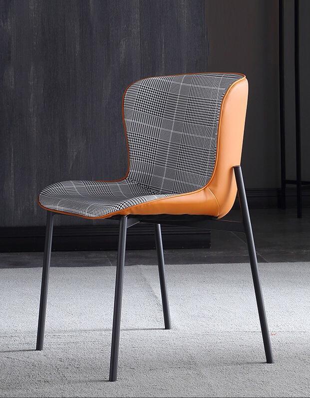 Ghế ăn chân thép nệm ngồi bọc da Nappa +vải : KG – E174
