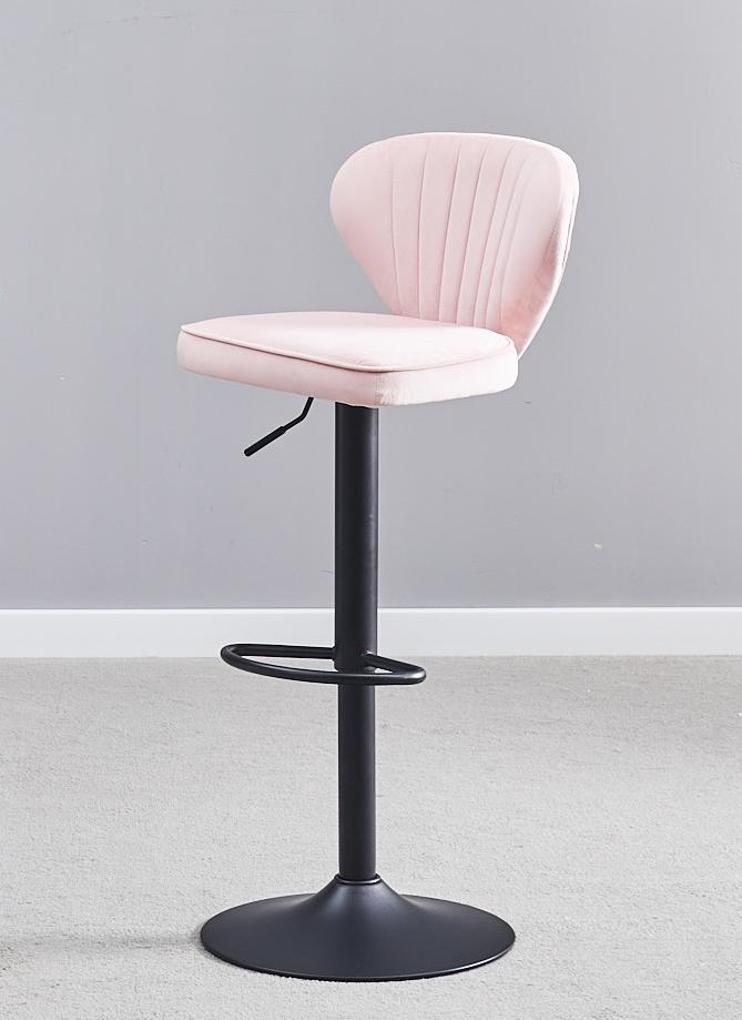 Ghế bar cao lưng nhung chân trụ nâng hạ : KG – B476