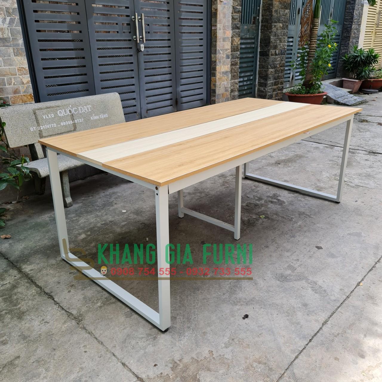 Bàn họp chân sắt mặt gỗ 2 màu 2m x 1m : KG – BH200-1