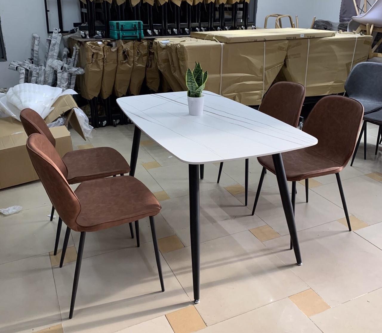 Bộ bàn ăn mặt đá hình chữ nhật 4 ghế : T162-14-4