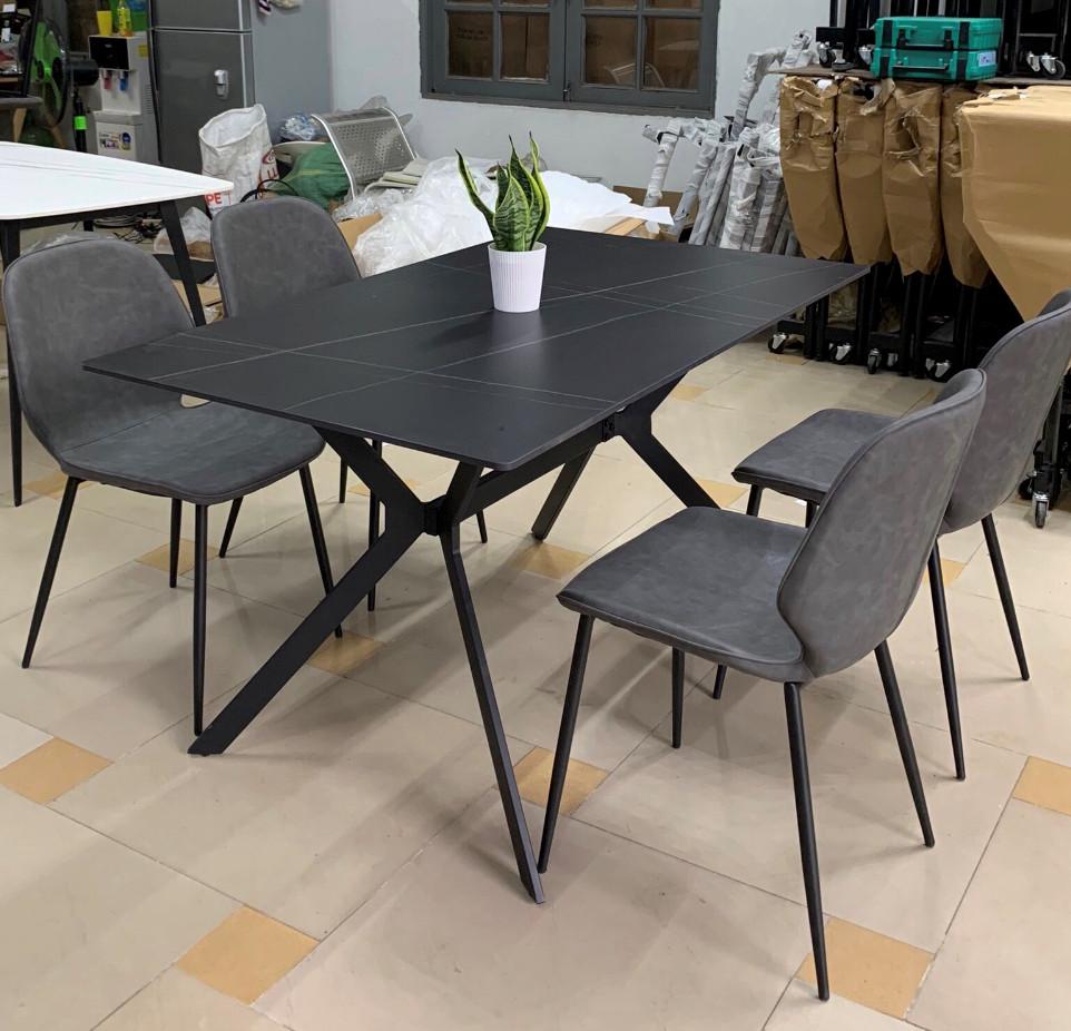 Bộ bàn ăn mặt đá 80 x 1m4 + 4 ghế sang trọng : T164-14